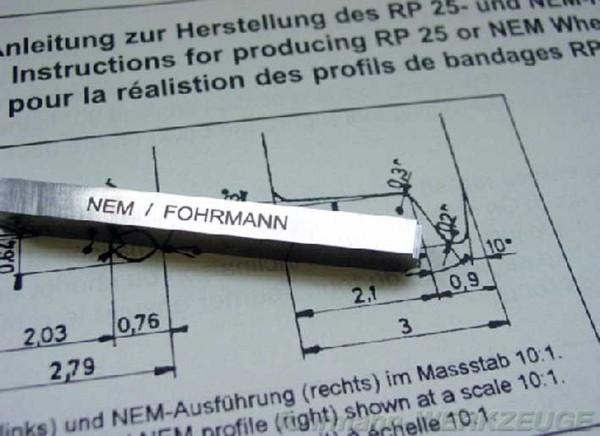 Radprofil-Drehstähle NEM für Spur H0 (6 x 6 mm)