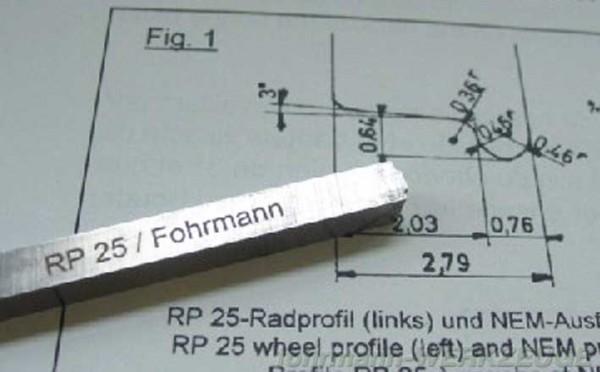 Radprofil-Drehstähle RP 25 für Spur H0 (6 x 6 mm)