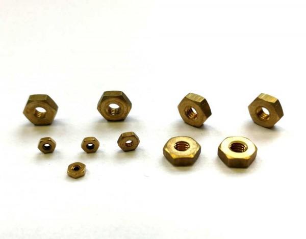 Sechskantmuttern aus Messing DIN 934 für Modellbau