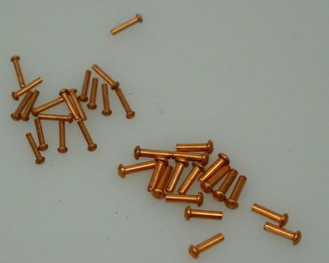 Niete aus Kupfer mit Halbrundkopf DIN 660 für Modellbau