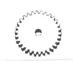 Stirnzahnrad ohne Nabe aus Messing (Modul 0,4)